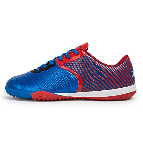 Camgo Herren Sport Flexible Athletic Light Weight Fußball Fußballschuhe Rot blau