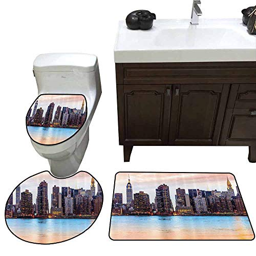 3 Piece Shower Mat Set New York Manhattan Skyline Midtown View from The Lake USA American City Artsy Picture U-Shaped Toilet Mat Peach Blue Mauve]()