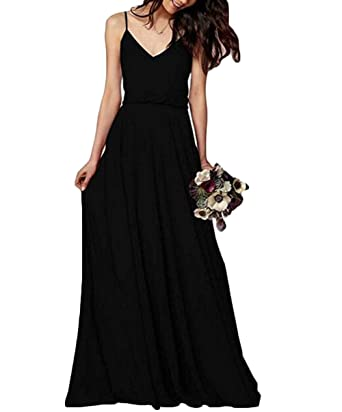 Leader of the Beauty Womens Long Spaghetti Straps Prom Dress Chiffon Bridesmaid Dresses Black ...