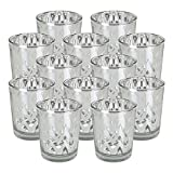 Just Artifacts Glass Votive Candle Holder 2.75''H (12pcs, Chevron Silver) - Mercury Glass Votive Tealight Candle Holders for Weddings, Parties and Home Decor
