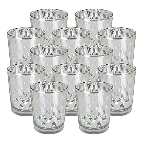 Just Artifacts GlassVotiveCandle Holder 2.75''H(12pcs,Chevron Silver) - Mercury Glass Votive Tealight Candle Holders for Weddings, Parties and Home Decor by Just Artifacts