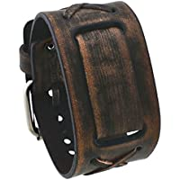 Nemesis #BFXBB Vintage Charcoal Brown Criss Cross Wide Leather Cuff Watch Wrist Band