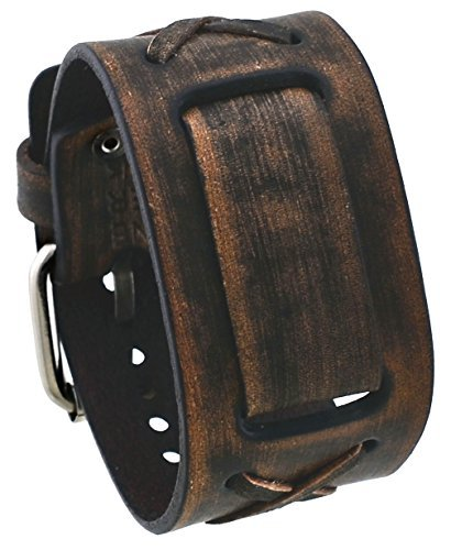 Nemesis #BFXBB Vintage Charcoal Brown Criss Cross Wide Leather Cuff Watch Wrist (Brown Wide Leather Cuff Watch)