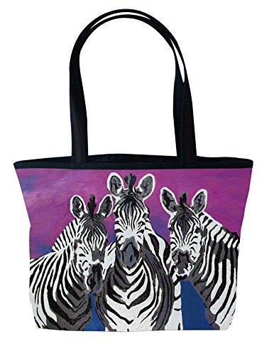- Zebras Shoulder Bag, Vegan Tote Bag - Animal Prints - From My Original Paintings - Support Wildlife Conservation, Read How (Zebras - Family)