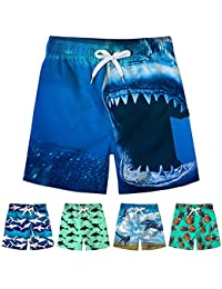 5c2ce19ba0 Kids Boys Funny Short Swim Trunks with Mesh Lining Waterproof Board Shorts  3D Printed Beach Shorts