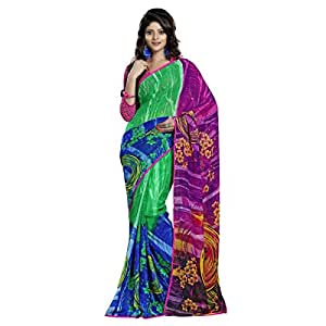 Shilp-Kala Faux Georgette Printed Green Colored Sarees SKN24002A