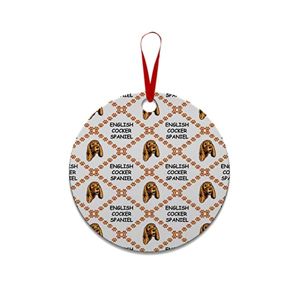 Style In Print Custom Holiday Christmas Ornament English Cocker Spaniel Dog Paws Aluminum Round Shape Design Only 1