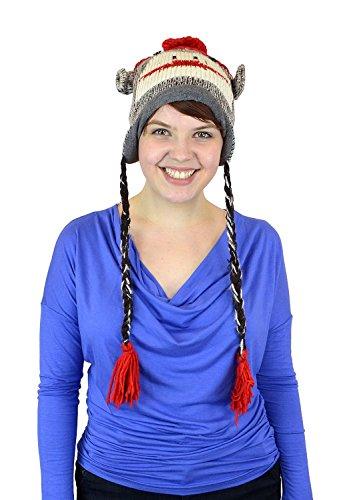 Belle Donne Unisex Winter Knit Monkey Animal Hats with Pom Pom - -