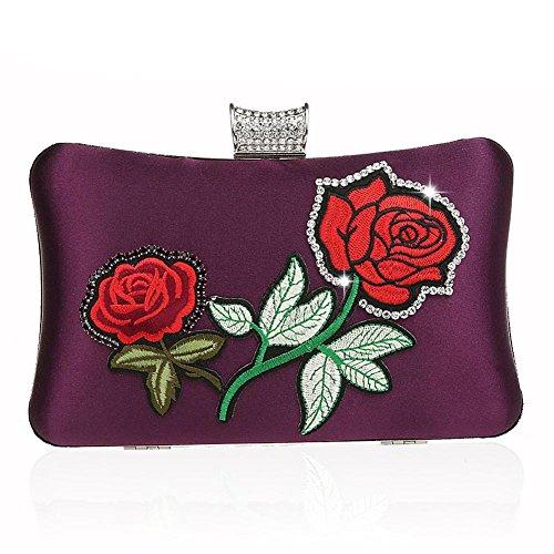 Wgwioo Bag bolso de noche de las mujeres bolso del bordado del bolso del diamante de imitación bolso de embrague de la boda del partido. 20 x 11 x 4 cm black one size purple