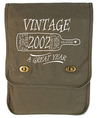 Tenacitee Aged Like a Fine Wine 2002 Khaki Green Canvas Field Bag (2002 Wine)