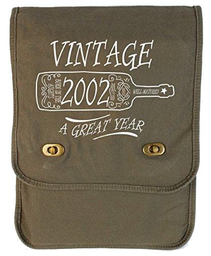 Tenacitee Aged Like a Fine Wine 2002 Khaki Green Canvas Field Bag (Wine 2002)