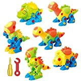 Dinosaur Toys Take Apart Toys With Tools (Pack of 6 Dinosaurs - 218 pieces) - Construction Engineering STEM Learning Toy Building Play Set - Best Toy for Boys & Girls Age 3 – 12 years old. colors very