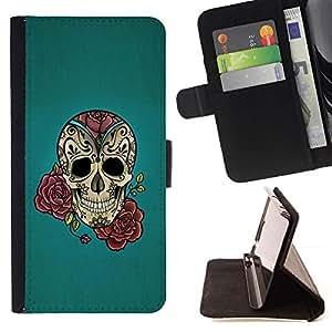 Momo Phone Case / Flip Funda de Cuero Case Cover - Rose Tattoo Ink Blue Rock rodillo metálico - Sony Xperia Style T3