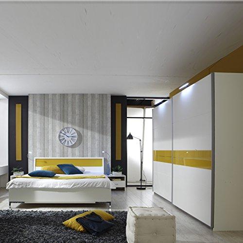 Schlafzimmer Set 4tlg »ACAPULCO« alpinweiß - Glas gelb inkl. Bettbeleuchtung
