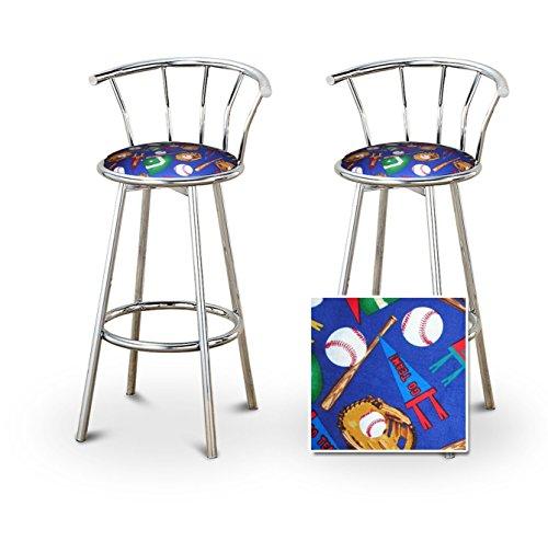 (2 Baseball Team Youth Sports Custom Chrome Barstools with Backrest Set)