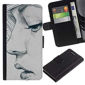 Be Good Phone Accessory // Caso del tirón Billetera de Cuero Titular de la tarjeta Carcasa Funda de Protección para Sony Xperia Z1 Compact D5503 // portrait woman art sketch depression