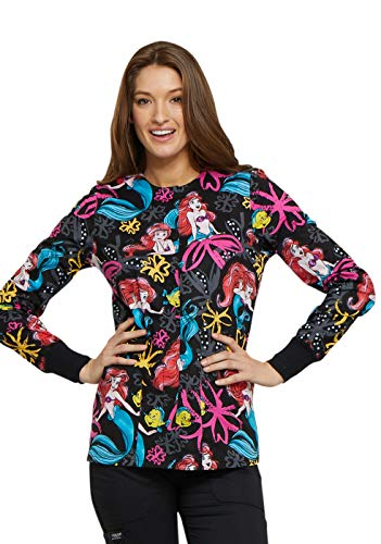 Cherokee Tooniforms Women's Snap Front Little Mermaid Print Scrub Jacket Large Print - Garden Print Scrub Jacket