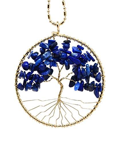 Sodalite Beaded Necklace (Handmade Celtic Tree of Life Charm Beaded Pendant Necklace (Gold Tone Simulated Sodalite))