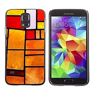 Be Good Phone Accessory // Dura Cáscara cubierta Protectora Caso Carcasa Funda de Protección para Samsung Galaxy S5 SM-G900 // Stained Glass Window Orange Fire Sunset