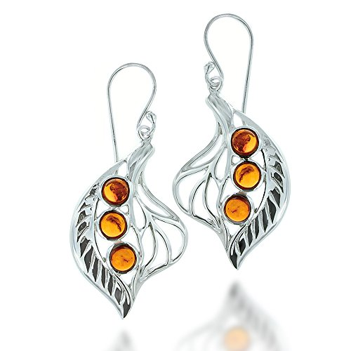 Rhodium Plated 925 Sterling Silver Amber Gemstone Leaf Dangle Earrings (Amber Earrings Silver Plated)