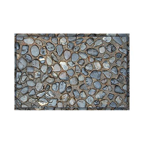 (certainPL 3D Pebbles Floor Sticker Waterproof Non-slip Bedroom Door Mat Simulation Effect Cushion Mat (16x24 inch))