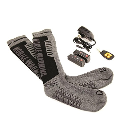 Mobile Warming Heated Electric Socks 3.7V Battery Operated with Remote, Men 10-14