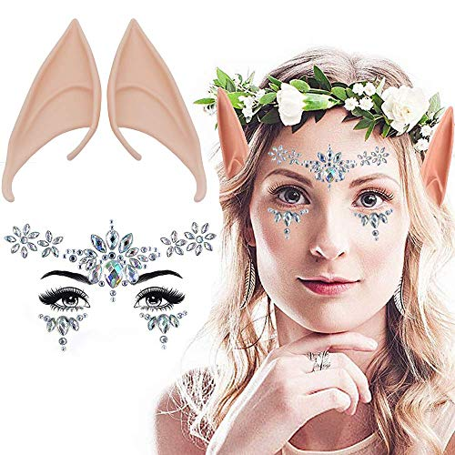 Halloween Makeup For Fairy Eyes (Hallowen Decor Sets,Hallowen Cosplay Elf Ear with Face Jewels Stickers Shiny Temporary Tattoo Sets for Party Make Up, Fairy Cosplay, Dress Up, Rave)