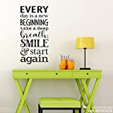 Decals Every Day is a New Beginning Motivational Quote Wall Take a deep breath smile start again Office Decor