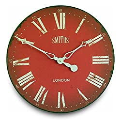 Roger Lascelles Clocks GAL/SMITHS/RED Wall Clock, Large, Red