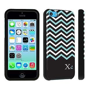 linJUN FENGDuroCase ? Apple iPhone 5c Hard Case Black - (Black Mint White Chevron X)