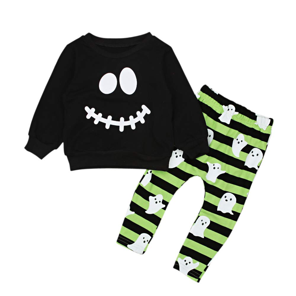 Baby Toddler Boy Halloween Outfits Clothing Set Top + Ghost Print Striped Pants