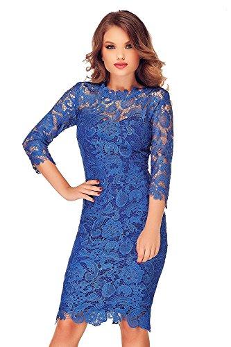 Vestito Da Donna Abito Aderente Blu Grey Midi Elegante Maniche Miss Cocktail Da Lunghe Pizzo Floreale Sera Bodycon Cerimonia 0wt7xZq