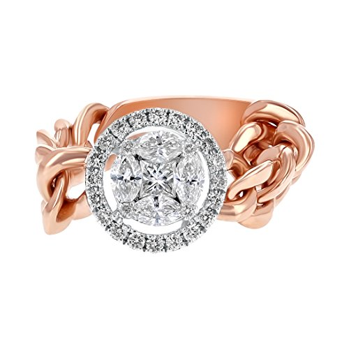 Olivia Paris 14k Rose Gold Flexible Chainlink Halo Diamond Wedding Ring (1/2 cttw, H-I Color, I1 Clarity) Size 7 (rose-gold) (Flexible Diamond Band)