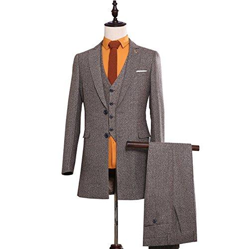 Classic Vintage Tweed Suit Herringbone Tailored Men Suit 3 Pieces Wool Blend Formal Tweed Suits Jacket
