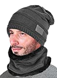 T-wilker Beanie Hat Scarf Set Knitted Hat Soft Stretch Cable Warm Fleece lining Cap (Grey)