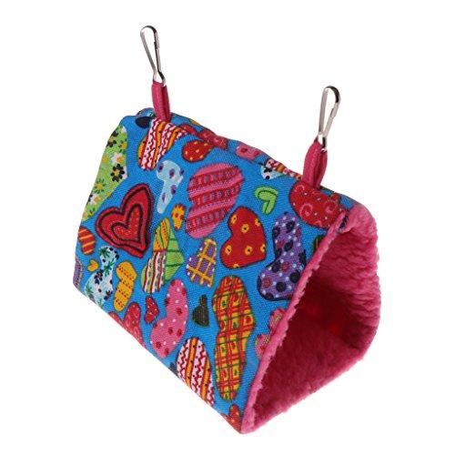 (Forgun Parrot Hammock Pet Birds Bed House Hanging Fuzzy Plush Winter Warm Soft Nest Toy (Heart, S))