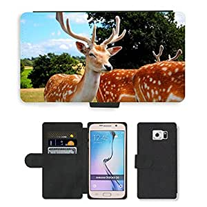 Super Stella Cell Phone Card Slot PU Leather Wallet Case // M00103733 Deer Antlers Animals // Samsung Galaxy S6 (Not Fits S6 EDGE)