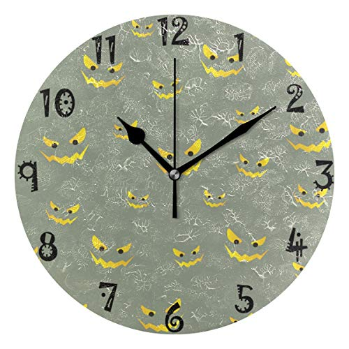 FVFV Art Halloween Devil Ghost Circular Wall Clock Round Plate Silent Non Ticking Clock for Kitchen Bedroom Home Office School Kid Boys Girls Clocks Decor