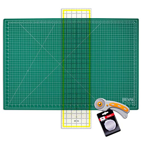 WA Portman Rotary Cutter Set - Rotary Fabric Cutter with 5 Extra Cutter Blades - 24x36 Inch Self Healing Cutting Mat - 6x24 Inch Quilting Ruler - Ideal Craft Supplies Set for Sewing and Quilting