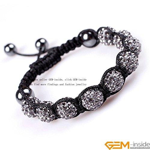 GEM-inside Gray Grey Women Girl Pave Shine Crystal Beads Hand-Woven Bracelet Adjustable