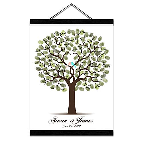 Fingerprint Wedding Tree Guest Book DIY Thumbprint Sign-in Book for Guests Creative Canvas Painting with Wooden Hanger for Engagement Anniversary Gift-20x28inch]()