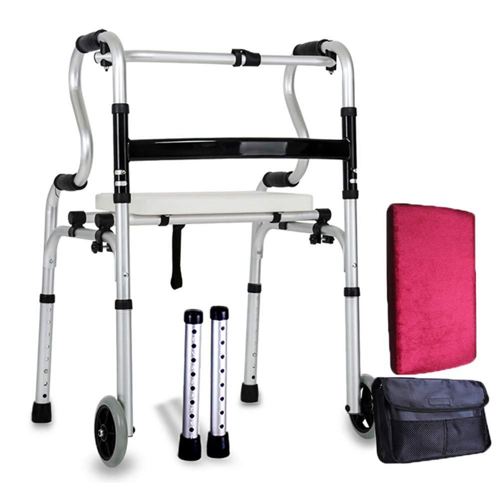 XXHDEE Light Folding Walker Four-Legged Elderly Assisted Walking (with 2 Wheel Dual-use + Seat Plate) Aluminum Walker Walking aids by XXHDEE