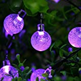 Icicle Solar String Lights, 20ft 30 LED Outdoor Globe...