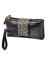 Leegoal(TM) Women Punk PU Leather Bling Rivet Evening Party Fashion Clutch Bags Purse Wallet Handbag ,Black