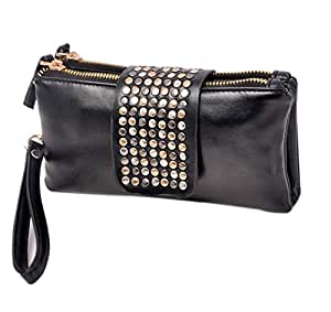 Flyme Korean Style PU Leather Bling Rivet Evening Clutch Bags Purse Wallet for Women Lady-Black