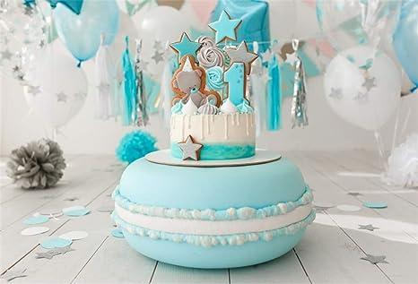 Enjoyable Amazon Com Aofoto 7X5Ft Baby Boy 1St Bday Cake Smash Party Personalised Birthday Cards Bromeletsinfo