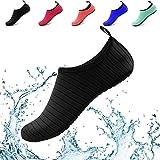 Water Shoes Women Men Yoga Barefoot Aqua Skin Socks Beach Quick Dry Swim Exercise Surf Pool (US Women 11-12/Men 9.5-10.5, Black)