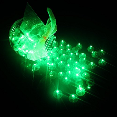 (100pcs LED Mini Round Ball Balloon Light, Long Standby Time Ball Lights for Paper Lantern Balloon Halloween Party Wedding Decoration (Green))