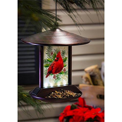 Evergreen Cardinal Solar Birdfeeder