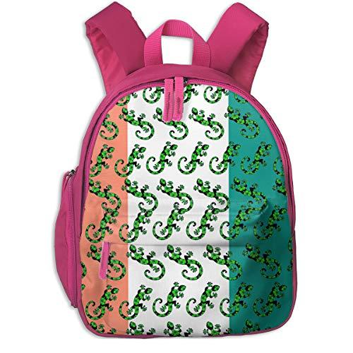 (Gecko Lizard Irish Flag Distressed Kids Lightweight Canvas Travel Backpacks School Book Bag)